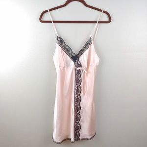 Victoria's Secret Nightgown Pink w/Black Lace